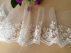 White Embroidery Lace Snowflake Trim Bridal Lace by lacelindsay, $3.80