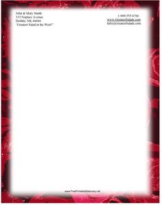 Red roses border this entire printable stationery. Free to download and print