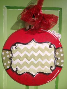Christmas chevron ornament door hanger.  Free Personalization.