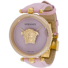 Versace Palazzo Empire watch ($1,580) ❤ liked on Polyvore featuring jewelry, watches, gold-tone watches, versace, leather band watches, versace jewellery and gold tone jewelry