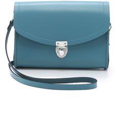 Cambridge Satchel Push Lock Bag (8.965 RUB) ❤ liked on Polyvore featuring bags, handbags, shoulder bags, coastal blue, blue leather shoulder bag, crossbody purse, leather crossbody, leather cross body purse and leather purse