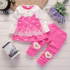 Tianhaik 2PCS Baby Girl Casual Outfits Suit Spring Long Sleeve Romper+Floral Pants Trousers