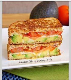 Avocado, Mozzarella, And Tomato Grilled Cheese --- Not lovin' the warm avocado, personally...but it's still pretty good