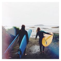 At Pacific Surf our instructors are there to help (even if that means carrying the boards) // Call or email us for private lessons // #YourTofino #Travel #Summer #Surfing @traveltofino