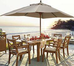 outdoor seating: Hampstead Rectangular Extending Dining Table & Chair Set #potterybarn