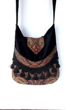 Bohemian Gypsy Bag Tapestry Fringe Messenger Bag  large bag renaissance bag messenger bag medieval bag