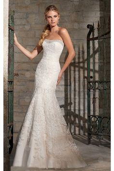 Gorgeous Lace Strapless Mermaid Buttons Wedding Dresses - Mermaid Wedding Dresses - Wedding Dresses