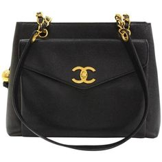 """Preowned Chanel 12"""" Black Caviar Leather Medium Shoulder Tote Bag ($1,699) ❤ liked on Polyvore featuring bags, handbags, tote bags, black, zippered tote bag, chanel purse, leather purses, leather tote and leather tote handbags"""
