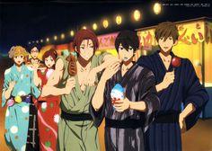 Nagisa, Rei, Gou, Rin, Haruka and Makoto~ of course the shark is eating squid! Anime Manga, Anime Guys, Nagisa Free, Rei Ryugazaki, Rin Matsuoka, Haruka Nanase, Otaku, Maou Sama, Free Eternal Summer