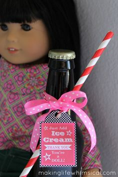 American Girl Birthday Party Root Beer Favor Tag-Just Add Ice Cream! So cute!