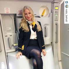 "#Repost @nala_behati . ・・・ Ich bin für offene Haare am Arbeitsplatz ✈️ los geht's in 8:45std sind wir in Peking AND YES, I know that I'm not suppose to sit on the slide! But besides that's not the topic of this post, I wasn't sitting there!!!!!! It was a ""2 second picture pose"" so forgive me, if it's bothering you so much to remind me on my post!!!! This is a good vibe post! #goodvibesonly #Peking #China #travelgirl #flightgirl #happy #longhair #uniform #legs #airplane #door #cute ..."