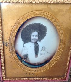 Antique Daguerreotype in Thermoplastic Union Case, Young Girl With Hat and Doll Daguerreotype, Girl With Hat, Old Photos, Dolls, Retro, Antiques, Children, Hats, Frame