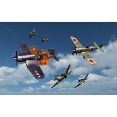 F4U Corsair aircraft and Japanese Nakajima fighter planes in aerial combat Canvas Art - Mark StevensonStocktrek Images (36 x 23)