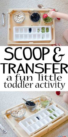 This scoop and transfer activity is super easy to set up and will keep your toddler busy and engaged!