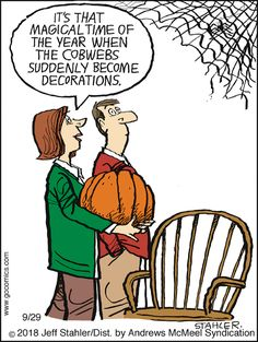 Moderately Confused Comic Strip for September 2018 Adult Cartoons, Funny Cartoons, Funny Comics, Halloween Cartoons, Halloween Humor, Halloween Stuff, Halloween Tricks, Haha Funny, Funny Memes