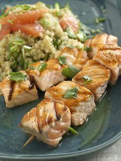 salmon kabobs with grapefruit quinoa salad