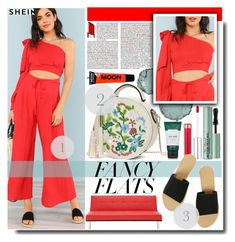 """""""One Shoulder Crop Top With Bow And Matching Wide Leg Pants"""" by fashiondiary5 ❤ liked on Polyvore featuring Chantecaille, Anastasia Beverly Hills, Too Faced Cosmetics, By Terry, The Body Shop and shein"""