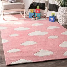 nuLoom Handmade Modern Clouds Kids Nursery Pink Runner Rug (2'6 x 8') (Pink), Size 2' x 8' (Polyester, Abstract)