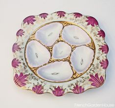 Antique 19th Century Continental Hand Painted Pink Oyster Plate Gilt Square