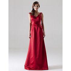 LAN+TING+BRIDE+Floor-length+V-neck+Straps+Bridesmaid+Dress+-+Open+Back+Sleeveless+Satin+–+USD+$+79.99