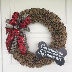 Dog Bone Wreath Polka Dot Burlap Wreath with Dog Bone Dog Dog Wreath, Burlap Wreath, Dog Nose, Nose Art, Cute Dogs, Dog Lovers, Bones, Centerpieces, Polka Dots