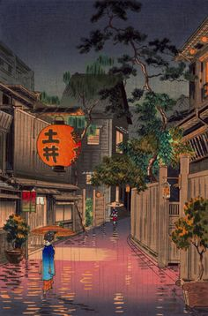 Japanese Art Prints Landscapes Tokyo Rainy Street Evening - Japanese Art Prints Landscapes Tokyo Rainy Street Evening At Ushigome Koitsu Woodblock Print Fine Art Reproduction Japan Prints Posters May Evening At Ushigoma By Tsuchiya Koitsu Japanese Art Prints, Japanese Painting, Japanese Aesthetic, Aesthetic Art, Woodblock Print, Rainy Street, Japon Illustration, Art Asiatique, Japanese Architecture