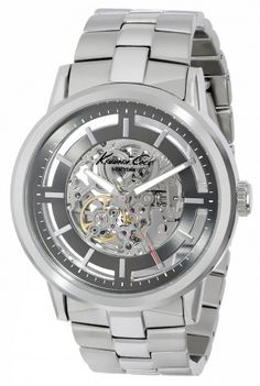 Kenneth Cole KC3925 Solid Stainless Steel Automatic Skeleton Watch For Men