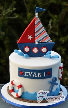Two tier with Sail Boat - - Amarantos Cakes - - Baby shower - first birthday cake-Erster Geburtstagskuchen Anchor Birthday Cakes, Toddler Birthday Cakes, Boys First Birthday Cake, Fete Marie, Torta Angel, Boat Cake, Grolet, Bithday Cake, Nautical Cake