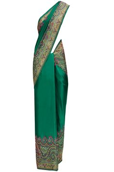 Green pasiley silk sari available only at Pernia's Pop-Up Shop. Nice pattern on the edge
