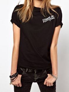 Black Round Neck Letters Print Casual T-Shirt 7.99