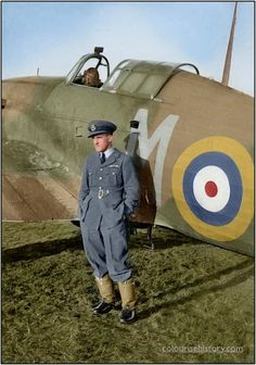 """Czech Pilot Officer Karel """"Charlie"""" Mrázek standing by his Hawker Hurricane Mk I (PO-M) of 46 Squadron at RAF Digby, Lincolnshire, UK. January- February 1941."""