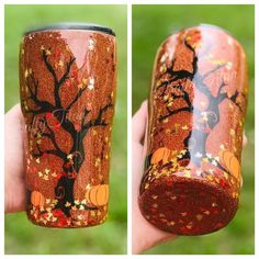 Your place to buy and sell all things handmade Autumn Trees, Autumn Leaves, Glitter Jars, Metal Straws, Custom Tumblers, Leaf Design, All The Colors, Crafty, The Originals