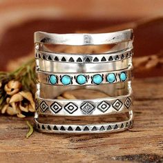 Bohemia Stone Inlaid Finger Joint Ring Antique Rings, Vintage Rings, Gypsy Rings, Stone Rings, Fashion Rings, Turquoise Jewelry, Natural Gemstones, Wanderlust, Wedding Rings