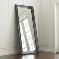 Pavillion Black Floor Mirror | Crate and Barrel