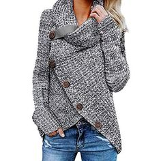 Shop a great selection of BLENCOT Women's Casual Cowl Neck Asymmetric Button Wrap Hem Pullover Sweater Jumper. Find new offer and Similar products for BLENCOT Women's Casual Cowl Neck Asymmetric Button Wrap Hem Pullover Sweater Jumper. Wrap Sweater, Sweater Coats, Sweater Outfits, Long Sleeve Sweater, Comfy Sweater, Fall Outfits, Sweater Jacket, Fashion Outfits, Fashion Trends