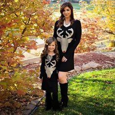 Mother Daughter Cartoon Deer Family Matching Outfits Long Sleeve