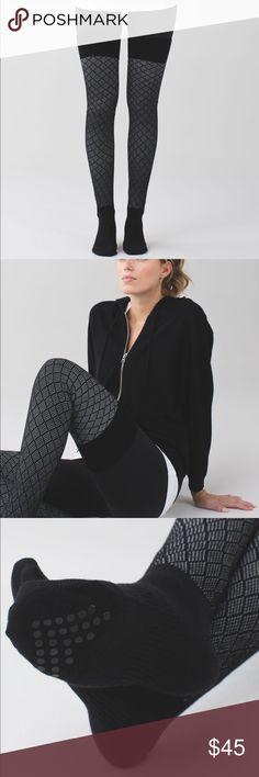 Lululemon black angel wing Savasana socks 😍♥️ IN STORES NOW! Lululemon Savasana sock in black angel wing. Grippy soles, over the knee. One size fits all. Retails $48. Brand new. lululemon athletica Accessories Hosiery & Socks