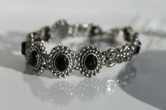8 Inch Long Black Onyx Gemstone Antiqued Silver by studiogracie, $29.00