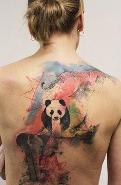 Color Panda Tattoos tobiastattoo.com #panda #tattoo
