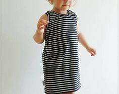 Stripey Summer Dress - Baby Dress - Toddler Dress - Modern baby dress - Sporty Baby Dress - Organic Dress - Retro Dress - Trendy baby Dress