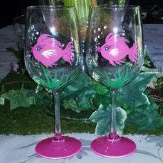 Pink Girly fish hand painted wine glasses by GlassesbyJoAnne, $32.00