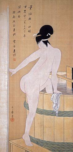 Bathing In Cold Water by Kitagawa Utamaro