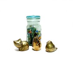 Set of Three Brass Paperweights Cat Mouse Bird by CoconutRoad