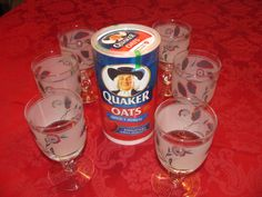 Glasses my Mother gave me over 50 years ago that came from boxes of oats. 50 Years Ago, Kitchen Ware, Oldies But Goodies, Vintage Stuff, Vintage Kitchen, Pint Glass, Mid-century Modern, Oatmeal, Nostalgia