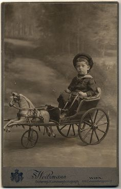 Weitzmann, S - Boy in Sailor Suit in Toy Horse & Carriage, Vienna, Vintage Children Photos, Vintage Pictures, Old Pictures, Vintage Images, Old Photos, Antique Photos, Illustrations, Antique Toys, Old Toys