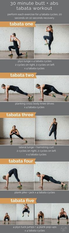 is swimsuit season creeping up on you? have no fear, your butt and abs makeover is here in the form of a 30 minute tabata workout!
