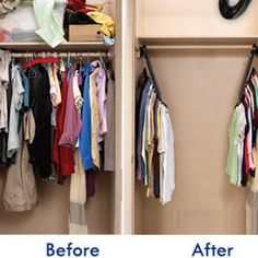 Make the most of your ridiculously tiny dorm closet by using cascading hangers…