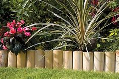 Wooden Log Roll Lawn Edging x By Grange Fencing Planter Boxes, Planters, Path Edging, Edging Ideas, Wooden Pathway, Lawn Edger, Construction Images, Landscape Edging, Garden Borders