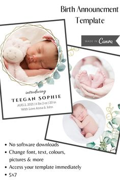 Fully customizable digital Canva template. Beautiful New Baby Announcement/Birth Announcement that you can download and customize. 5x7 card, double-sided. Edit with your pictures and text, download and print, upload to a print service, email/text, and/or post to social media. Digital Canva Template | Baby Announcement | Baby Card | Fully Customizable Pregnancy Announcement To Husband, New Baby Announcements, Photo Boxes, Expecting Mom Gifts, Baby Birth, Baby Shower Favors, Baby Cards, Printing Services, New Baby Products