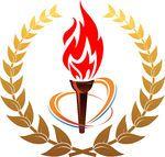 Flaming torch in laurel wreath -